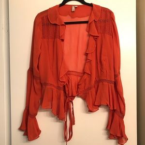 ASOS Rustic Orange Ruffle Tie Front Blouse size 10